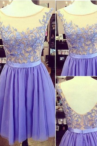 Custom Made A Line Short Purple Prom Dresses, Dresses for Prom