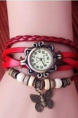 Vintage Bracelet red Wrap Leather Butterfly Girl Watch