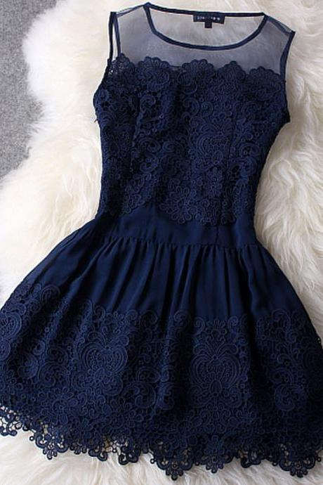 Sexy Dark Blue Lace Dress