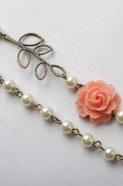 Coral rose necklace and ivory pearl, shabby chic necklace, coral pearl neckalce, coral wedding jewelry, bridesmaid necklace
