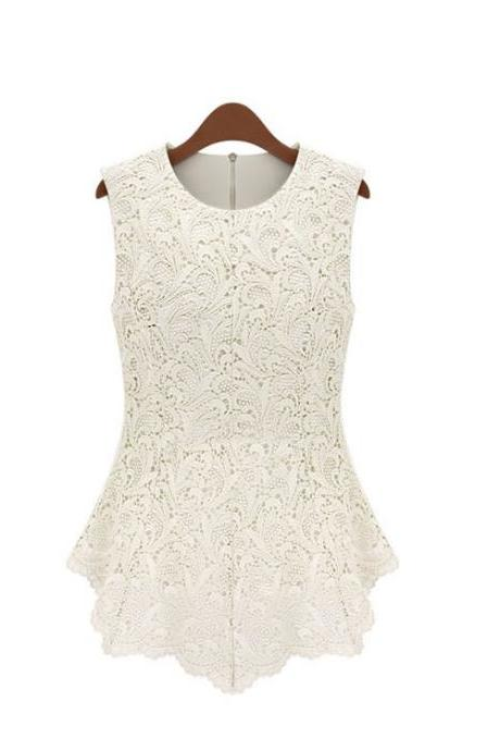 Sweet Hollow Out Lace Sleeveless Blouse