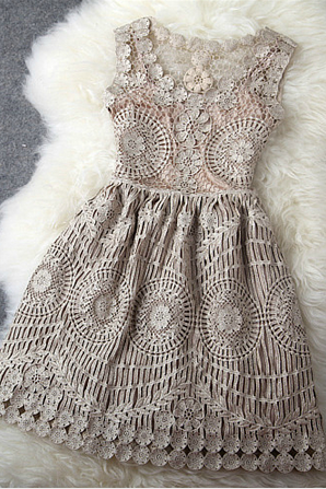 Sexy Vintage Gold Thread Hollow Out Embroidery Slim Dress