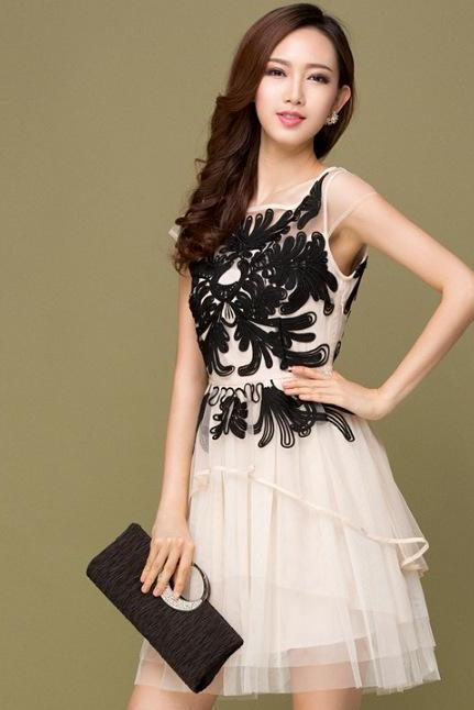 Three-Dimensional Plate Flower Sleeveless Vest Skirt Cultivate One's Morality Dress