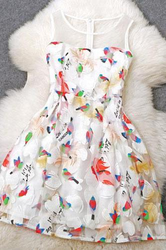 Unique Embroidered Birds Temperament Princess Party Dress