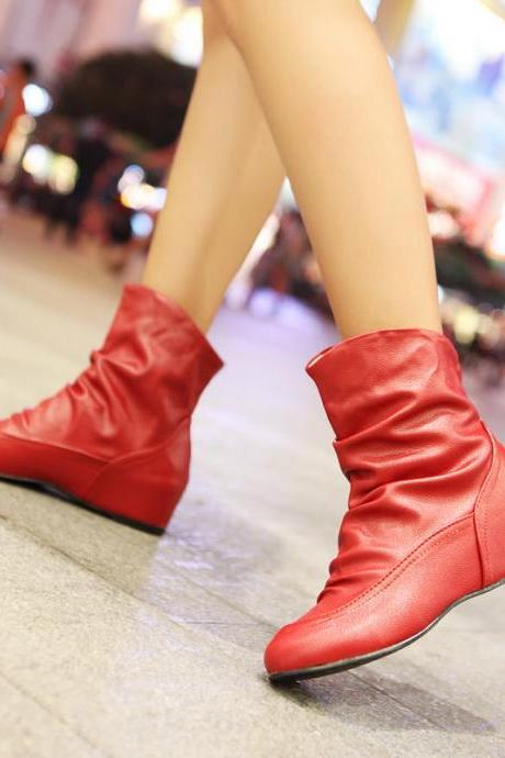 Cute Heeled Boots In 3 Color