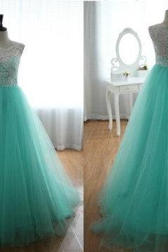 Turqoise Ball Gown Round Neckline Sweep Train Wedding Dress/ Bridal Dress/ Wedding Gown