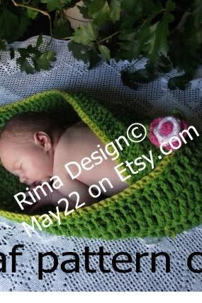 Original PDF PATTERN ONLY Instant download crochet big green leaf wrap blanket for newborn baby Permission to sell finished product