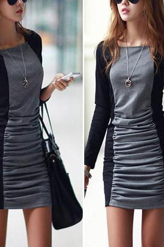 Sexy Fashion Contrast Color Long Sleeve Round Neck Slim Fit Dress