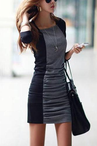 Contrast Color Long Sleeve Round Neck Slim Fit Dress