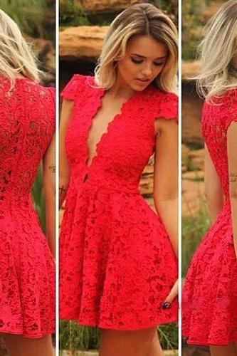new fashion Sexy Deep V-Neck Short Sleeve High Waist Lace Dress