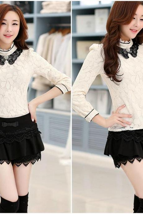 Elegant Doll Collar Floral Lace Long Sleeve Blouse