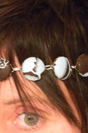 FREE SHIPPING - Fabric Covered Button In Bezel Settings Head Band/Necklace - Brown/Baby Blue