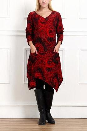 Red Paisley Handkerchief Dress