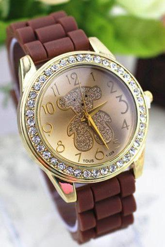 Teddy bear brown rubber girl teen casual watch