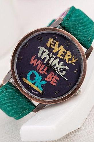 Inspirational Message Fabric Strap Cool Unisex Watch