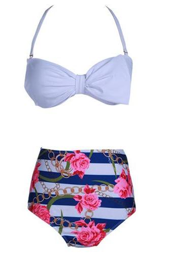 Nice Flowers Pattern Women Swimsuit Swimwear Bikini