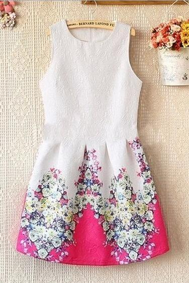 Round Neck Sleeveless Flower Print Dress