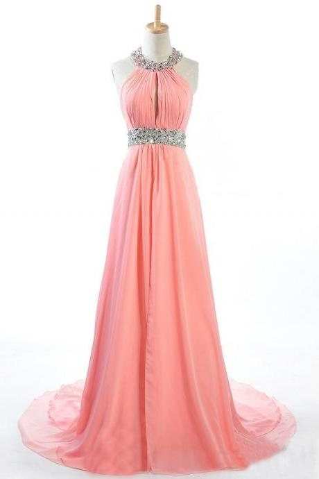 Made to Order Handmade Coral Halter Sequins Long Prom Dresses, Coral Prom Gown, Prom 2015, Evening Dresses