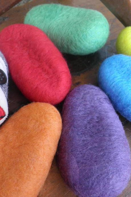 Sensory Wool Toy set of 6. Wool rock pods. Meditation wool rocks, vibrant colour set, Waldorf natural toys, Eco friendly toy set.