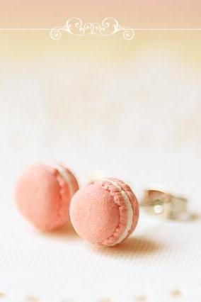 Food Jewelry - Sweet Pink French Macarons Earrings