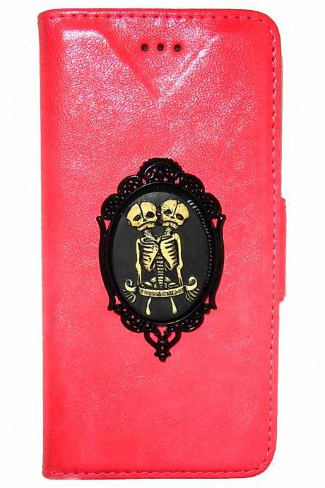 Twin Skull iPhone 6 6s Wallet case,Vintage iphone 6 4.7 leather case,iphone 6 6s Flip Case,Victorian Vintage Twin Skull iPhone 6 6s PLUS leather wallet case cover NA Pink