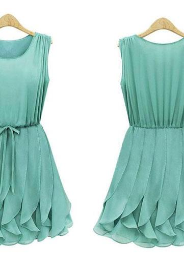 Ruffled Pleated Sleeveless Chiffon Dress