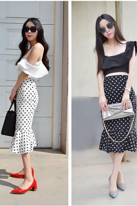 Sexy Fishtail Hem Design Polka Dot Skirt Two-Pieces Suit