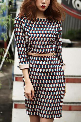 Sexy OL Style 3D Grid Pattern 3/4 Sleeve Slim Fit Dress