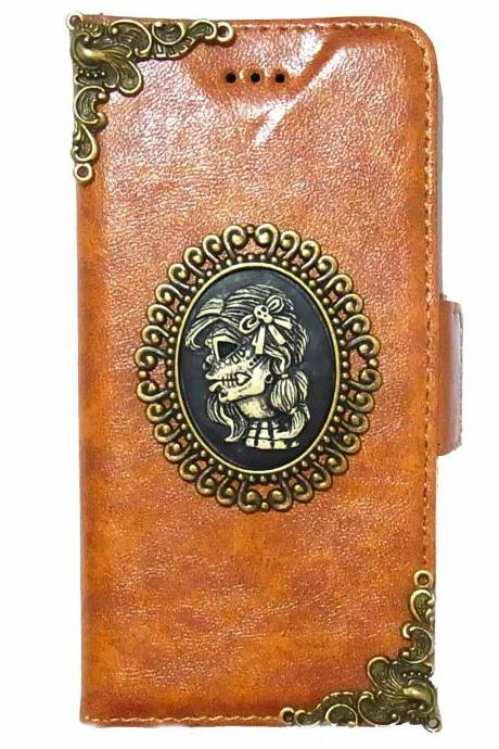 Skull Lady iPhone 6 Wallet case,Vintage iphone 6 4.7 leather case,iphone 6 Flip Case,Victorian Vintage Skull Lady iPhone 6 PLUS Leather Wallet Pouch Case Cover A3 NA Brown