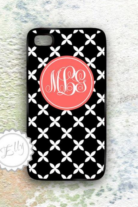 Coral iphone case personalized french style monogram hard cover - floral damask