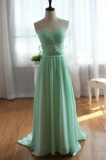 Handmade Mint Green Long Prom Dresses 2015, Mint Green Prom Dresses, Bridesmaid Dresses, Evening Dresses