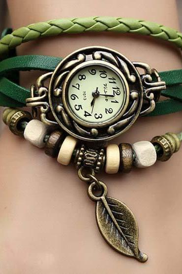 New Fashion Leather Wrap Watch Leather Band Wrist Watch Women Wrist Watches With Vintage leaf Leather Watch Bracelet