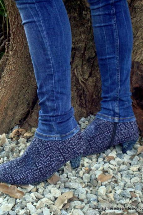Vegan Ankle Boot in Hmong Indigo Blue Batik