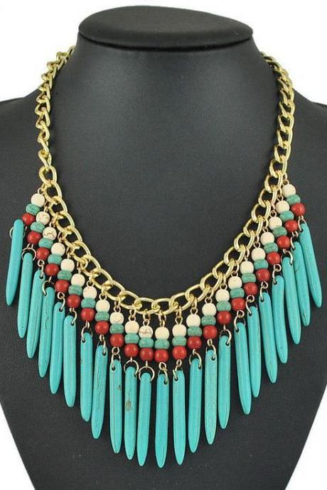 Ethnic African Jewelry blue Statement Woman Necklace
