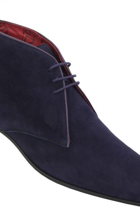 HANDMADE MEN CHELSEA SUEDE LEATHER BOOT,MEN CHELSEA ANKLE-HIGH BLUE SUEDE BOOTS