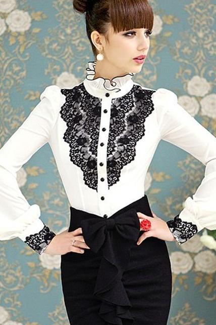 Gorgeous Ruffled Collar White Blouse With Lace Detail