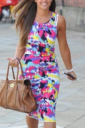 Fashion Floral Print Sleeveless Round Neck Dress