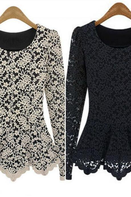 Long Sleeve Lace Blouse In Black And Apricot