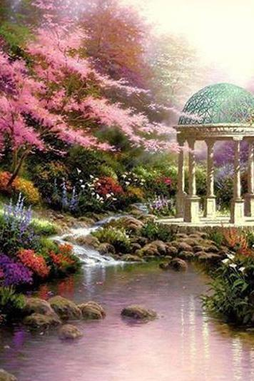 kinkade Garden Of Prayer Cross Stitch Pattern***LOOK***