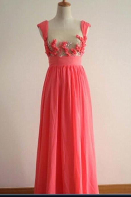 Pretty Coral Applique Prom Dresses 2016, Formal Dresses 2016, Bridesmaid Dresses, Evening Dresses