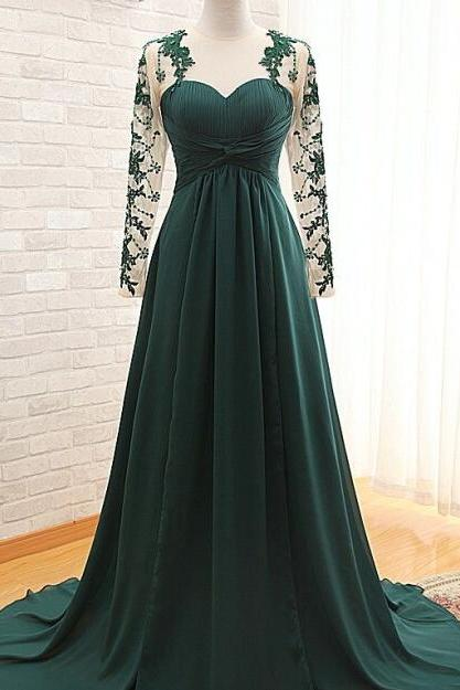 Handmade Long Sleeve Prom Dress Pleated Dark Green Bridesmaid Dresses Party