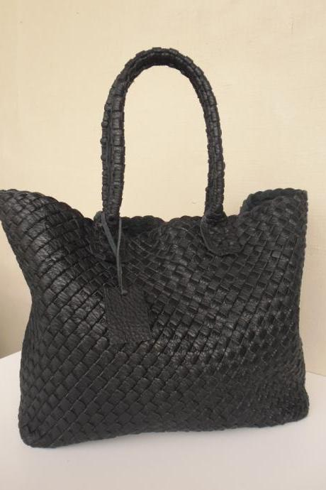 Black Leather Tote - Large Leather tote - Supple Black Leather Bag-Woven Leather Tote,rwoodb-clutch