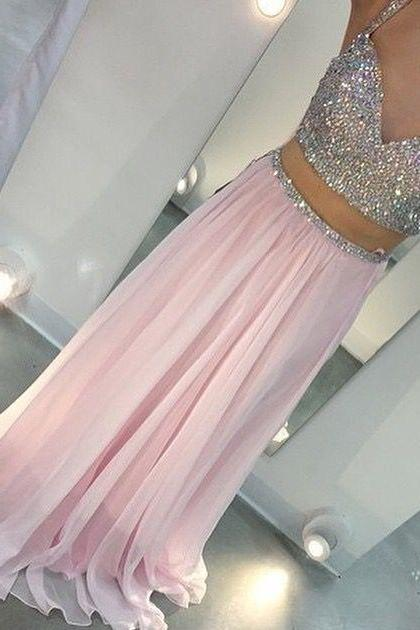 Custom Made A Line 2 Pieces Pink Prom Dresses, Cheap Dresses for prom