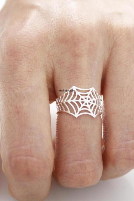 Cobweb, Spiderweb, Web statement adjustable Ring in Gold / Silver