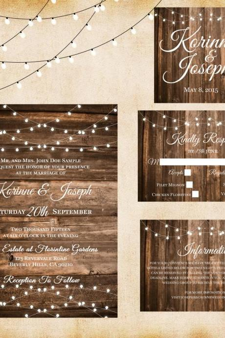 Wood Lights Wedding Invitation - Printable wedding invitation Set, Minimalist wedding, Aged Wood wedding invitation