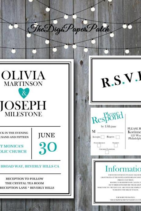 Teal Wedding Invitation - Printable wedding invitation Set, Minimalist wedding, wedding invitation