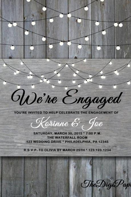 Engagement Party Invitation Grey Wood - Printable Engagement invitation , Minimalist wedding, Engagement invitation