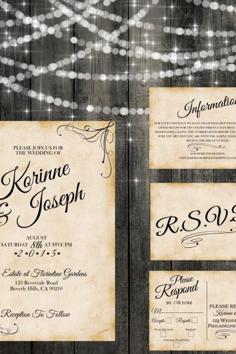 Vintage Wedding Invitation Shabby Chic - Printable wedding invitation Set, Minimalist wedding, rustic garden wedding invitation