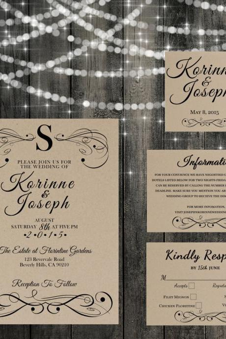 Vintage Wedding Invitation - Monogram Printable wedding invitation Set, Minimalist wedding, flourish wedding invitation