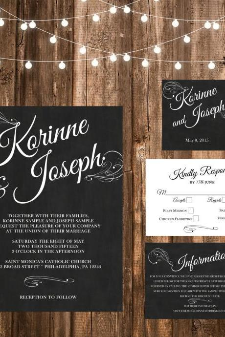 Chalkboard Wedding Invitation - Printable wedding invitation Set, Minimalist wedding, chalkbroad wedding invitation